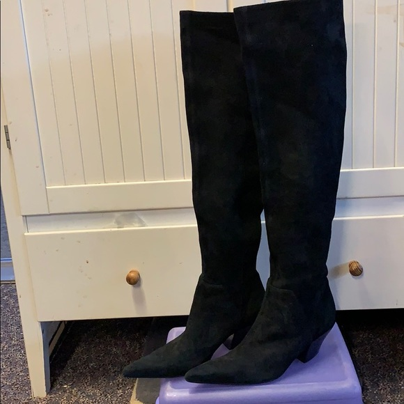 Genuine Suede Leather Thigh High Boots